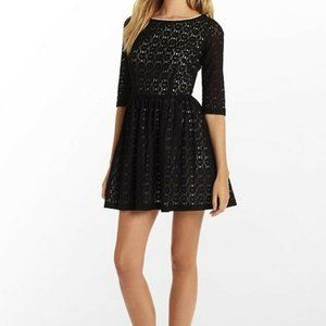 Lilly Pulitzer Alicia Dress Size 0 Black Lace